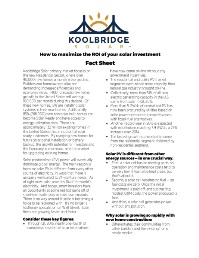 Koolbridge Solar Inc How To Maximize the ROI of Your Solar Investment Fact Sheet